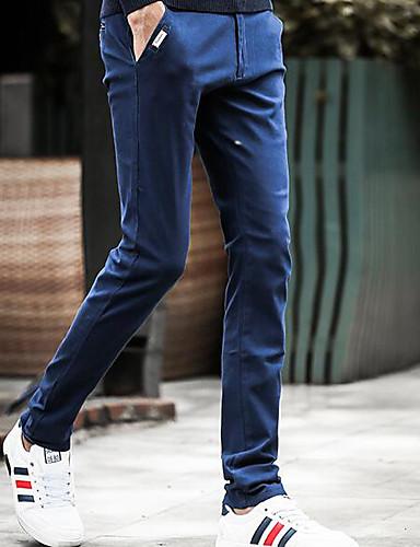 Herren Einfach Mittlere Hüfthöhe Mikro-elastisch Chinos Schlank Hose einfarbig