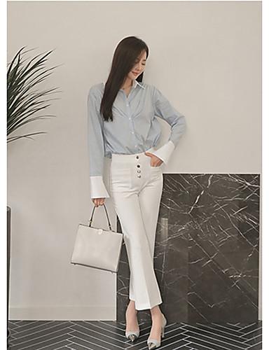 Damen Einfach Hohe Hüfthöhe Mikro-elastisch Jeans Bootcut Hose Solide