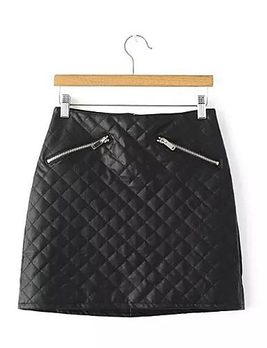 Damen Röcke,A-Linie Bodycon einfarbigLässig/Alltäglich Mittlere Hüfthöhe Über dem Knie Reisverschluss PU Micro-elastisch Herbst