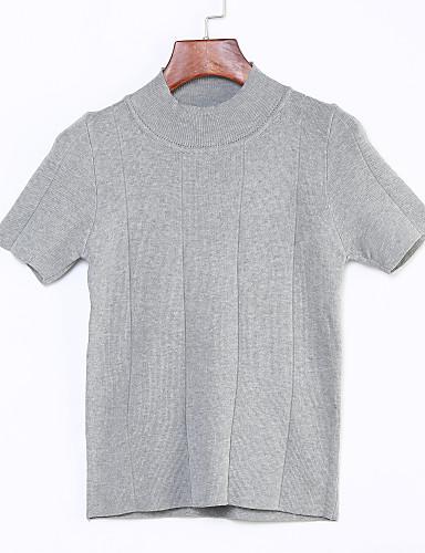 Damen Solide Alltag Street Schick Pullover Kurzarm Rundhalsausschnitt Sommer