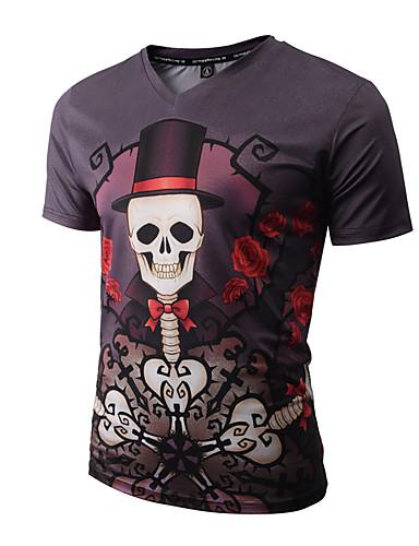 Tee-shirt Hommes,Imprimé Sortie Décontracté / Quotidien Vacances Bohème Chic de Rue Punk & Gothique Printemps Eté Manches Courtes Col en V