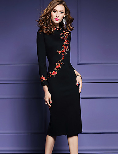 483a28543af Women s Embroidery Plus Size Going out Chinoiserie Bodycon Dress - Floral  Black