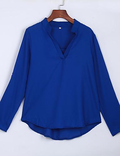 billige Dametopper-V-hals Store størrelser T-skjorte Dame - Ensfarget, Utskjæring Arbeid Grå / Sommer