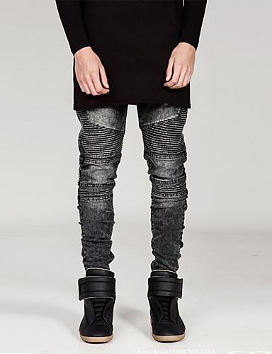 Herre Punk & Gotisk Bomull Tynn Rett Jeans Bukser Ensfarget