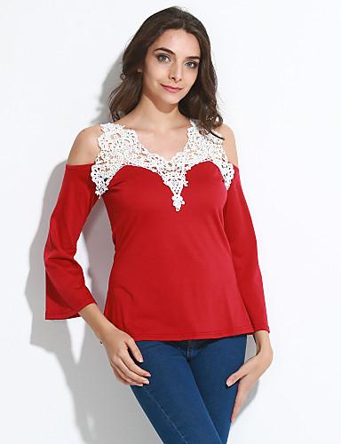 Damen Solide T-shirt,Tiefes V Spitze Schmetterling Ärmel
