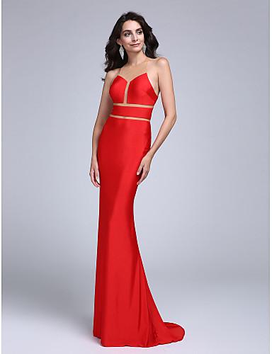 Havfrue Besmykket Svøpeslep Jersey Formell kveld Kjole med Plissert av TS Couture®