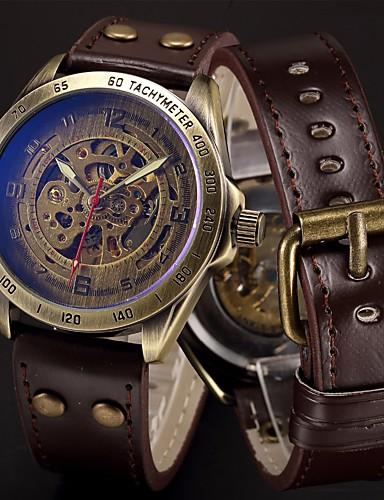للرجال ساعة رياضية ساعة عسكرية ساعة المعصم داخل الساعة أتوماتيك 50 m كوول بانغك ستانلس ستيل جلد طبيعي فرقة مماثل ترف قديم كاجوال أسود / أزرق / فضة - بني برونز فضي / أزرق