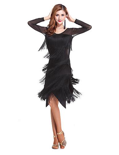 dcbfd6ddd2ed2f Taniec latynoamerykański Suknie Damskie Wydajność Spandeks Frędzel Długi  rękaw Wysoki Ubierać / Latin Dance