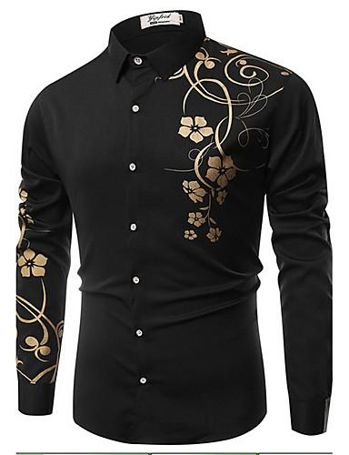 abordables Cosecha-Hombre Vintage Estampado - Algodón Camisa, Cuello Inglés Delgado Floral Blanco XL / Manga Larga / Primavera / Otoño