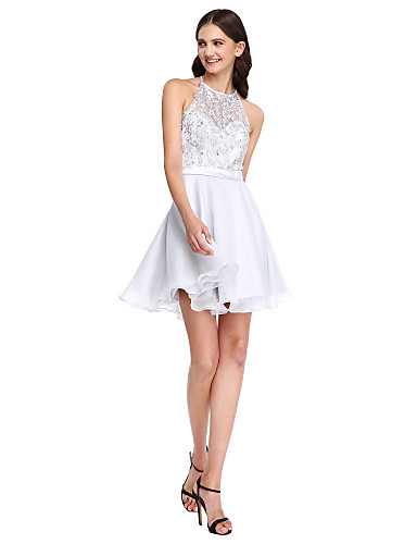 A-Line Jewel Neck Short / Mini Lace Organza Bridesmaid Dress with Beading Appliques Sash / Ribbon by LAN TING BRIDE®