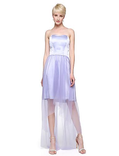 Linha A Decote Princesa Longo Tule Cetim Elástico Vestido de Madrinha com Pregas de LAN TING BRIDE®