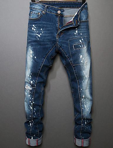 Homens Algodão Reto Jeans Calças - Sólido