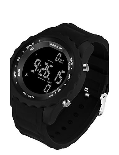 SANDA Homens Relógio Esportivo / Relógio inteligente / Relógio de Pulso LED / Pedômetros / Resistente ao Choque Silicone Banda Luxo / Casual / Fashion Preta / Monitores de Atividades Esportivas