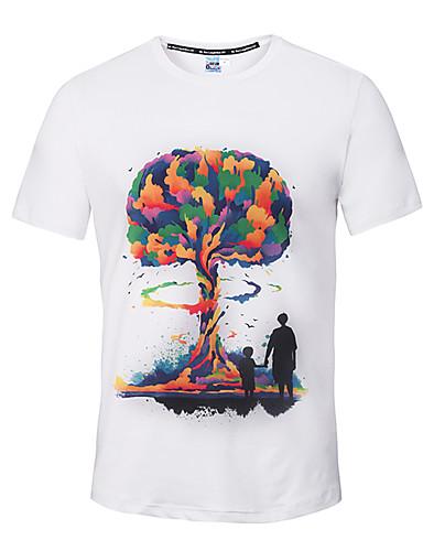Homens Camiseta - Esportes Activo / Moda de Rua Estampado Decote Redondo / Manga Curta