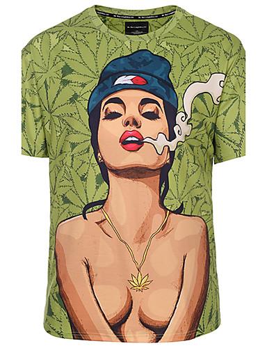 Χαμηλού Κόστους Πορτραίτο-Ανδρικά Μεγάλα Μεγέθη T-shirt Κλαμπ Μπόχο / Κομψό στυλ street / Πανκ & Γκόθικ Πορτραίτο Στρογγυλή Λαιμόκοψη Στάμπα Πράσινο Χακί XL / Κοντομάνικο / Άνοιξη / Καλοκαίρι