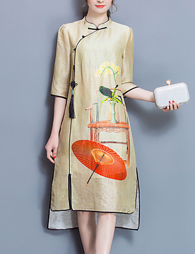 Women's Plus Size Going out Vintage Loose Dress,Print Stand Midi ½ Length Sleeve Polyester Yellow Spring Summer Mid Rise Inelastic