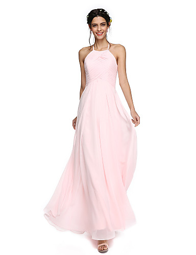 billige Lange brudepikekjoler-A-linje Besmykket Gulvlang Georgette Brudepikekjole med Drapert av LAN TING BRIDE® / Åpen rygg