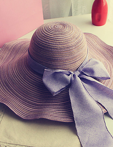 cheap Women's Hats-Women's Holiday Outdoor Straw Straw Hat Sun Hat-Solid Colored Bow Summer Navy Blue Purple Fuchsia