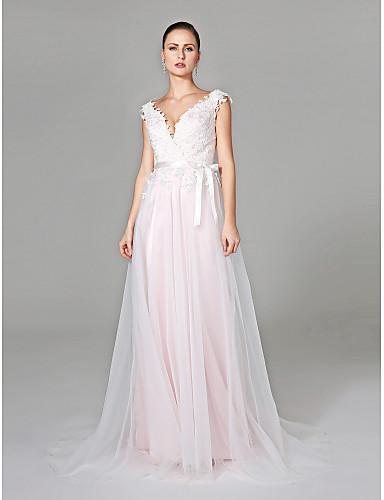 1f85662db Linha A Decote V Cauda Escova Renda   Tule Vestidos de casamento ...