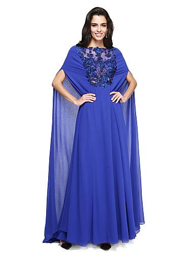 A-Linie Illusionsausschnitt Pinsel Schleppe Georgette Formeller Abend Kleid mit Perlenstickerei Applikationen durch TS Couture®