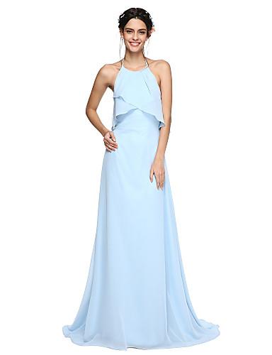 Corte en A Halter Larga Raso Vestido de Dama de Honor con Plisado por LAN TING BRIDE® / Espalda Bonita