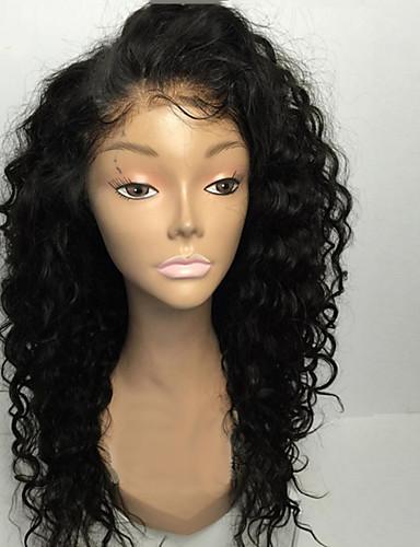 저렴한 연예인 가발-인모 전면 레이스 가발 사이드 파트 Rihanna 스타일 브라질리언 헤어 곱슬한 네이처 블랙 가발 130 % Haardichte 8-30 인치 아기 머리카락 조절가능 자연 헤어 라인 표백 된 매듭 청년 네이처 블랙 여성용 긴 인모 레이스 가발 / 컬리