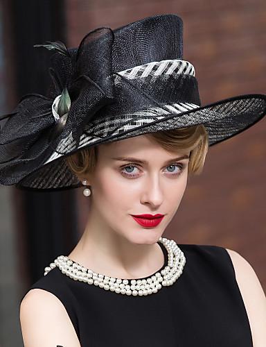 abordables Chapeau & coiffure-Plume Lin Casque-Mariage Occasion spéciale Décontracté Extérieur Coiffure Chapeau 1 Pièce