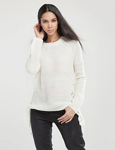 Dame Langermet Pullover - Ensfarget