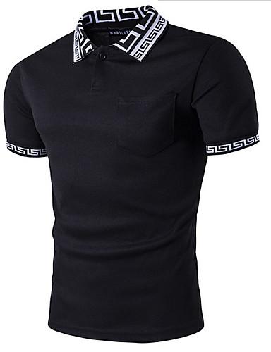 رخيصةأون ملابس رجالية-قطن بولو ستايل قبعة القميص - أساسي لون سادة, الرياضة أبيض L / كم قصير