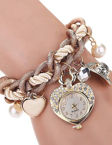 Mulheres Relógio de Pulso imitação de diamante / Legal Lega Banda Amuleto / Heart Shape / Vintage Marrom