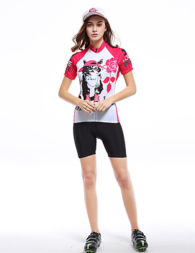 cheap Cycling Clothing-XINTOWN Women's Short Sleeve Cycling Jersey - Red / White Cat Plus Size Bike Top Breathable Quick Dry Back Pocket Sports Terylene Mountain Bike MTB Road Bike Cycling Clothing Apparel / Stretchy