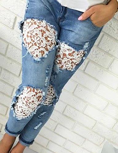 Mulheres Activo Delgado / Jeans Calças - Sólido rasgado