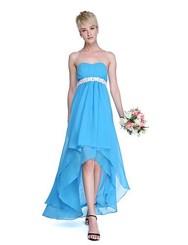 A-lijn Sweetheart Asymmetrisch Chiffon Bruidsmeisjesjurk met Sjerp / Lint Plooien door LAN TING BRIDE®