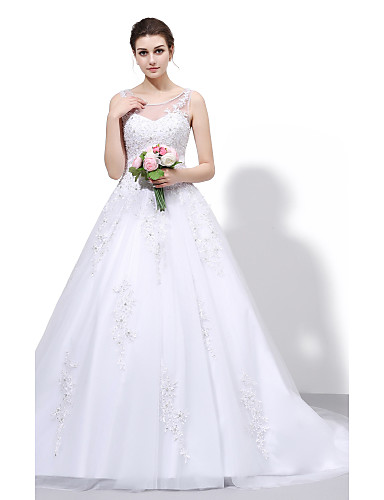 Ball Gown Illusion Neckline Court Train Lace Tulle Wedding Dress with Beading Appliques by VIVIANS BRIDAL