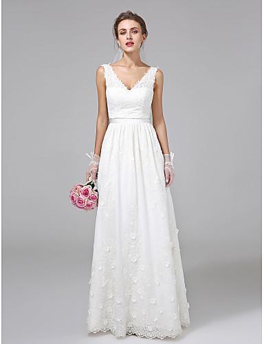 levne Svatební šaty-A-Linie Do V Na zem Krajka Svatební šaty vyrobené na míru s Šerpa / Stuha / Květiny podle LAN TING BRIDE®