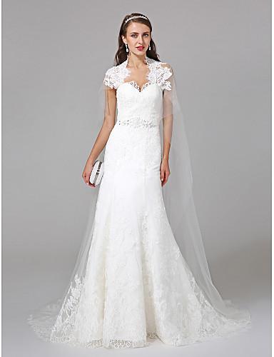 571a67206c4 Ίσια Γραμμή Queen Anne Ουρά που ξεκινάει από τους ώμους Τούλι Φορέματα  γάμου φτιαγμένα στο μέτρο