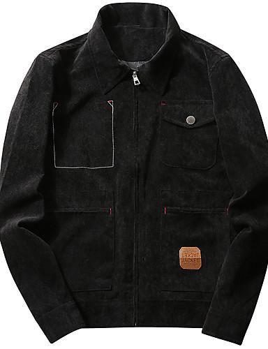 Herrn Solide Einfach Freizeit Alltag Jacke,Hemdkragen Winter Herbst Langärmelige Standard Polyester