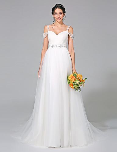 Linha A Cauda Corte Tule Vestido de casamento com Miçangas Faixa / Fita Cruzado Drapeado Lateral de LAN TING BRIDE®
