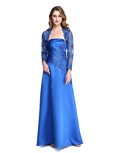 Corte en A Sin Tirantes Hasta el Suelo Satén Vestido de Madrina con Apliques / Plisado por LAN TING BRIDE® / Ilusión / Bolero incluido