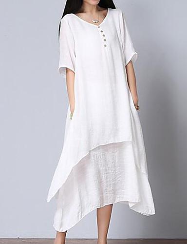 Mulheres Tamanhos Grandes Algodão Solto Vestido Sólido Decote V Médio Branco / Verão
