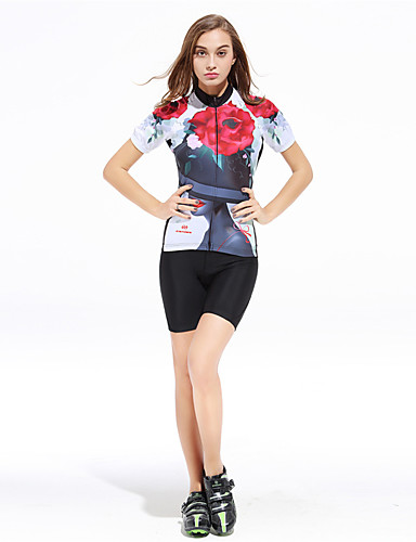 cheap Cycling Clothing-XINTOWN Women's Short Sleeve Cycling Jersey with Shorts Black / Red Floral Botanical Plus Size Bike Shorts Pants / Trousers Jersey Breathable Quick Dry Ultraviolet Resistant Back Pocket Sweat-wicking