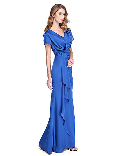 Sheath / Column V-neck Floor Length Satin Chiffon Mother of the Bride Dress with Criss Cross Pleats by LAN TING BRIDE®