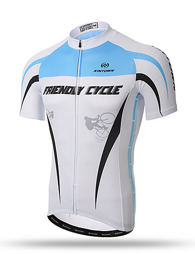 cheap Cycling Clothing-XINTOWN Men's Short Sleeve Cycling Jersey - Blue / White Bike Top Breathable Quick Dry Back Pocket Sports Terylene Clothing Apparel / Stretchy / Sweat-wicking