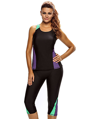 شاطئ XL XXL XXXL ألوان متناوبة, ملابس السباحة متعددت القطع أسود رياضي أساسي قياس كبير نسائي / ضيق