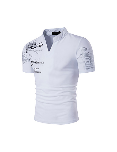 voordelige Heren T-shirts & tanktops-Heren Boho Print T-shirt Katoen, Sport Geschilderd Opstaand Slank Zwart / Korte mouw / Zomer