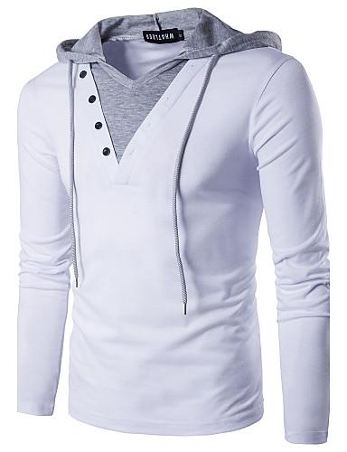 voordelige Herenpolo's-Heren Actief / Street chic Patchwork T-shirt Katoen Effen Capuchon Slank Wit / Lange mouw