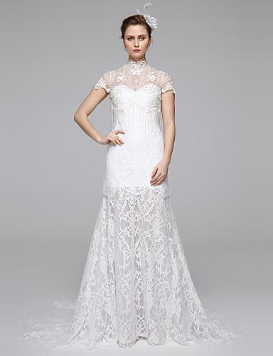 Sereia Ilusão Decote Cauda Escova Renda Vestidos de casamento feitos à medida com Pregueado / Renda de LAN TING BRIDE® /   Ilusão / Transparências