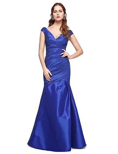 Trompete / Meerjungfrau V-Ausschnitt Boden-Länge Taft Formeller Abend Kleid mit Plissee durch TS Couture®