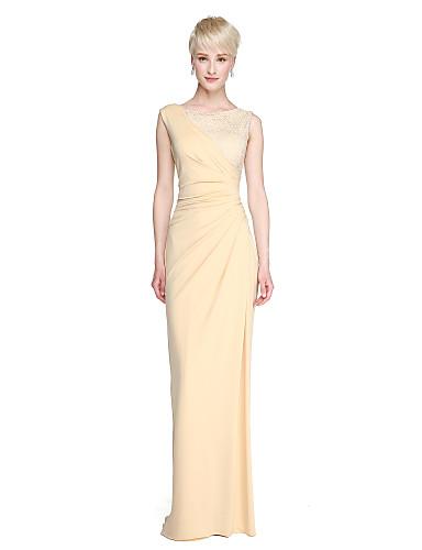 Tube / kolonne Besmykket Gulvlang Blonder / Jersey Brudepikekjole med Delt front / Plissert av LAN TING BRIDE®