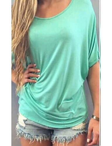 billige Topper til damer-Tynn Store størrelser T-skjorte Dame - Helfarge, Klassisk Stil Klassisk & Tidløs Lyseblå